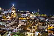 Mexico, Puerto Vallarta, at night, downtown with church tower - ABAF001627