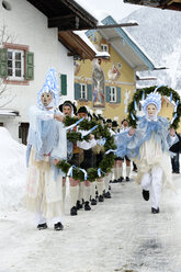 Germany, Bavaria, Mittenwald, traditional carnival procession - LB001033
