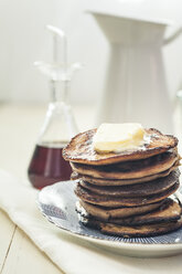 American pancakes with butter and maple syrup - SBDF001622