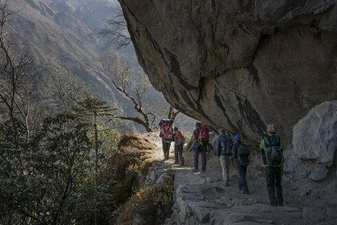Nepal, Khumbu, Everest region, trekkers descending from Gokyo - ALR000076