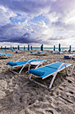 USA, Florida, Miami, lonesome beach with beach loungers - THAF001230