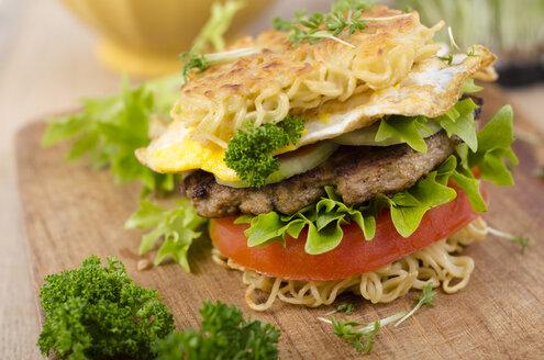 Ramen burger on a wooden board - ODF001117