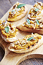 Pumpkin bruschetta with toasted walnuts, soy cheese and sage - HAWF000625