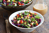 Asian slaw salad with red cabbage, kale, fava beans, cashew and cilantro - HAWF000630