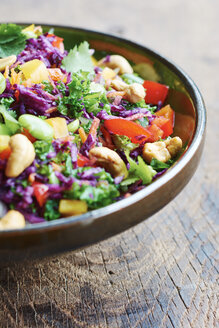Asian slaw salad with red cabbage, kale, fava beans, cashew and cilantro - HAWF000631