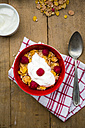 Bowl of glutenfree cereals with natural yoghurt and raspberries - LVF002828