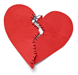 Broken heart tied up with thread - RAMF000046