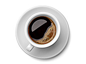 Cup of black coffee on white background - RAMF000048