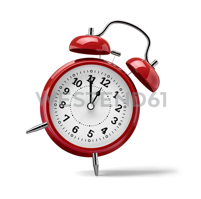 Red clock in front of white background - RAMF000051