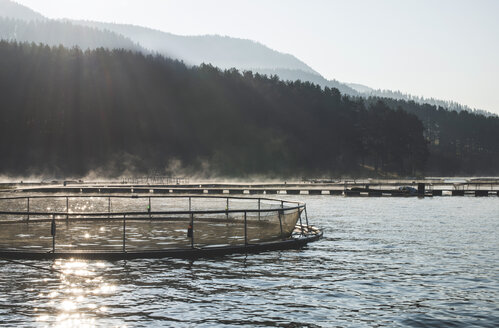 Bulgaria, Cages for fish farming in mountain lake - DEGF000299