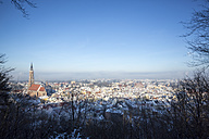 Germany, Bavaria, Landshut, cityscape with St. Martin's church in winter - SARF001341