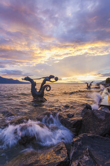 Switzerland, Vevey, Lake Geneva, sea horse sculpture - WD002935