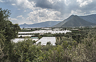 Greece, Peloponnese, greenhouses at landscape - DEG000203