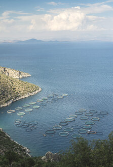 Greece, Peloponnese, view to fish farm from above - DEG000196