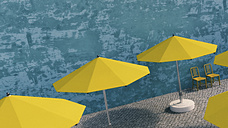 Two yellow chairs and sunshades in a courtyard, 3D Rendering - UWF000384