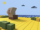 Beach scene built of toy blocks, 3D Rendering - UWF000381