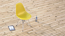 Yellow chair, water bottle and digital tablet on wooden terrace, 3D Rendering - UWF000387
