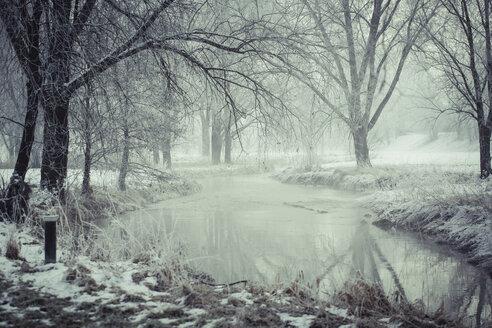 Germany, Bavaria, Landshut, flood channel in winter - SARF001344