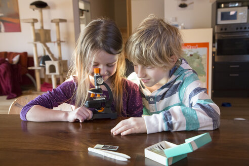 Brother and sister with microscope at home - SARF001361