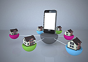 Houses connected to smartphone, 3d rendering - ALF000300