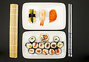 Sushi Nigiri, Maki, Inside-Out on plate - JTF000637