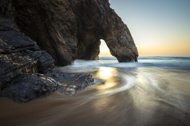 Portugal, Praia da Adraga, Rock formation at sunset - STCF000065