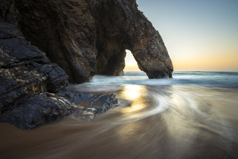 Portugal, Praia da Adraga, Rock formation at sunset - STCF000065
