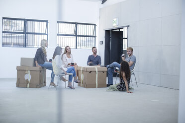Creative office people meeting before moving in - ZEF003015