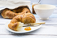 French breakfast with croissant, Cafe au lait and fig jam - LVF002905