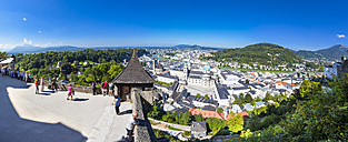 Austria, Salzburg, View of historical old town from Hohensalzburg Fortress - AM003820