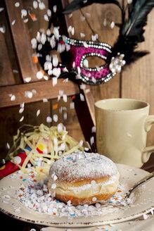 Bismarck doughnut, confetti and carnival mask - CSTF000876