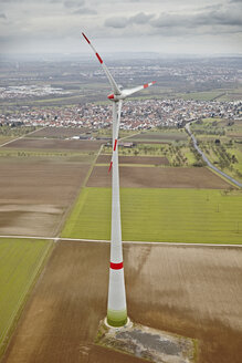Southern Germany, aerial view of wind turbine - KDF000685