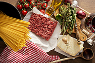 Ingredients for spaghetti bolgnese, tomatoes, minced meat herbs and cheese - CSTF000886