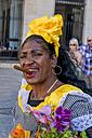 Cuba, Havana, portrait of woman with  cigar wearing traditional costume - EJW000688
