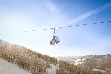 Austria, Salzburg State, Region Hochkoenig in winter, ski lift - DISF001413