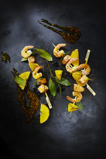 Foodart, grill skewer with shrimps and salmon, red chilli - KSWF001417