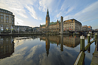 Germany, Hamburg, City Hall and Little Alster in the morning - RJF000403