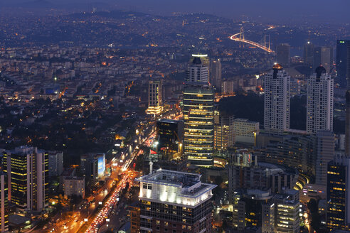 Turkey, Istanbul, view over the financial district from the Istanbul Sapphire by night - LHF000432