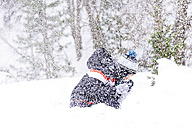 Boy in the middle of a heavy snowfall - GEMF000087