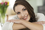Portrait of brunette young woman at home - SHKF000275