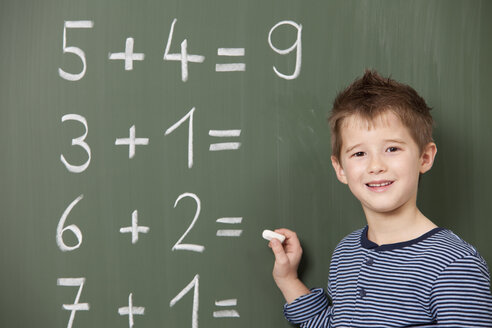 Schoolboy at blackboard with arithmetic problems - MFRF000068