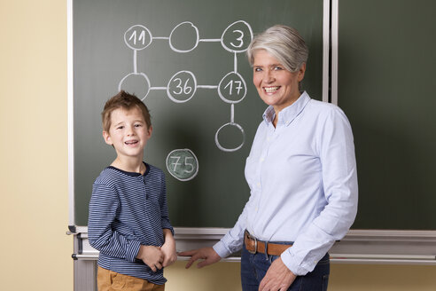 Smiling teacher and schoolboy at blackboard with arithmetic problem - MFRF000111
