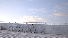 Two bicycles leaning against wall, 3D rendering - UWF000392