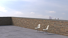 Two chairs on roof terrace with laptop and coffee to go, 3D rendering - UWF000395