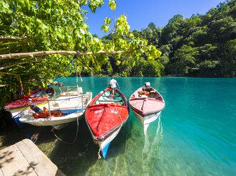 Jamaica, Port Antonio, boats in the blue lagoon - AMF003875