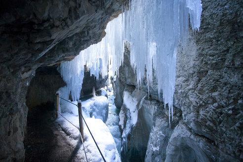 Germany, Bavaria, Upper Bavaria, Garmisch-Partenkirchen, View of icicles in partnachklamm gorge - ZC000210
