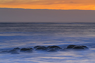 USA, California, Mendocino County, Schooner Gulch State Beach, Bowling Ball Beach at sunset - FOF007785
