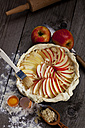 Raw apple pie in cake pan and ingredients on wood - CSF024778