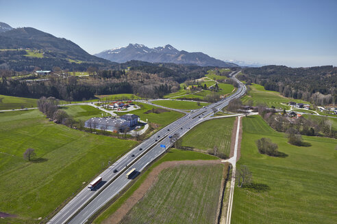 Germany, Bavaria, Aerial view of A8 highway, exit to Bernau - KDF000689