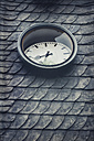 Germany, Wuppertal, broken clock on roof, disused railway station - DWI000443